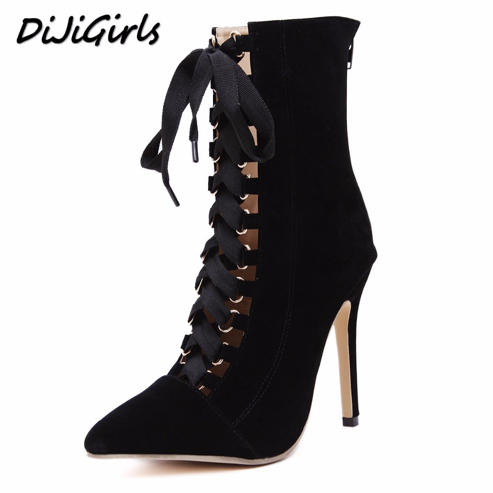 f56e78206d6 DiJiGirls Women High Heels Boots Shoes Woman Fashion Stilettos Pumps  Gladiator Lace Up Strappy Booties Ankle Boots Black Pink