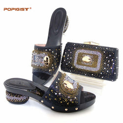 Diamond black color with high quality Italian shoes and bags matching set delivery by DHL free shipping new arrival 2017 summer