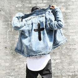 Don't be confuse Cross embroidery HIGH STREET jacket men cool BF style zipper sleeve hold men boys oversize outwear coats L156