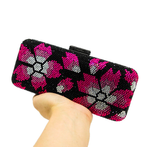 ab31b97c3ee ... Image of Double Flower Black Crystal Fuchsia Floral Women Evening  Clutch Bag Hard Case Wedding Party ...