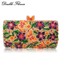 Double Flower Butterfly & Floral Women Crystal Evening Handbags Hard Case Metal Wedding Clutches Bag Bridal Minaudiere Clutch