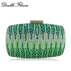Double Flower Dazzling Green Mixed Crystal Women Evening Handbags and Purses Bridal Wedding Party Diamond Clutch Minaudiere Bag