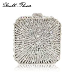 Double Flower Dazzling Hollow Out Mini Box Silver Crystal Women Evening Clutch Handbags and Purses Wedding Cocktail Party Bag