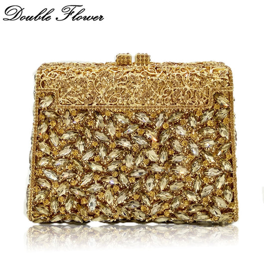Double Flower Dazzling Hollow Out Women Gold Crystal Evening Bags Metal Hard Case Diamond Minaudiere Box Clutch Wedding Handbag