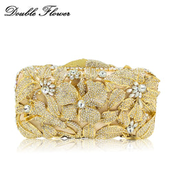 Double Flower Dazzling Women Flower Crystal Evening Handbags and Purses Hard Case Metal Clutches Minaudiere Wedding Clutch Bag