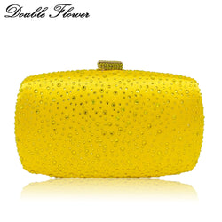 Double Flower Dazzling Yellow Crystal Women Evening Clutch Wedding Cocktail Metal Clutches Handbag and Purse Chain Shoulder Bag