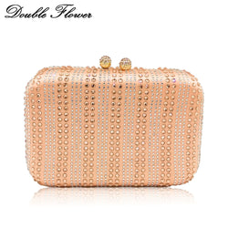 Double Flower Elegant Champagne Striped Crystal Women Metal Clutch Evening Handbags and Purses Wedding Party Chain Shoulder Bag