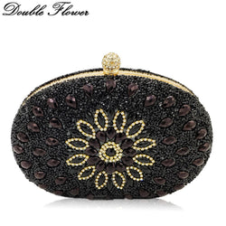 Double Flower Elegant Socialite Hot-Fixed Black Crystal Women Evening Clutch Bag Wedding Party Prom Minaudiere Handbag and Purse