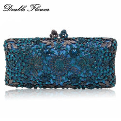 Double Flower Hollot Out Light Blue Turquoise Women Crystal Evening Clutch Bags Metal Hard Case Diamond Minaudiere Handbag Purse