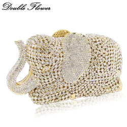 Double Flower Hollow Out 3D Elephant Shape Women Gold Crystal Clutch Evening Handbags and Purses Wedding Party Diamond Bag