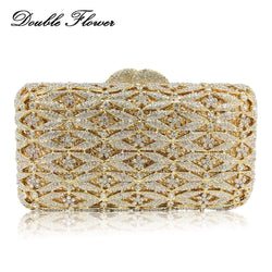 Double Flower Hollow Out Dazzling Bling Diamond Women Clutch Minaudiere Bag Wedding Handbags Purses Bridal Crystal Evening Bags