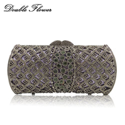 Double Flower Hollow Out Dazzling Grey Crystal Women Evening Bags Metal Minaudiere Wedding Clutch Bridal Purse Ladies Handbags