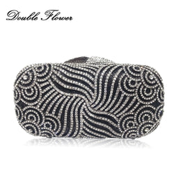 Double Flower Hollow Out Paisley Dazzling Women Crystal Clutches Bags Evening Wedding Cocktail Clutch Handbag Bridal Purse