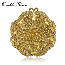 Double Flower Hollow Out Round Circular Women Gold Crystal Flower Evening Clutch Bags Wedding Bridal Handbag Cocktail Purse