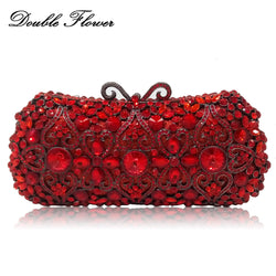 Double Flower Hollow Out Ruby Red Crystal Women Clutch Bag Metal Hard Case Wedding Party Cocktail Minaudiere Handbags and Purses