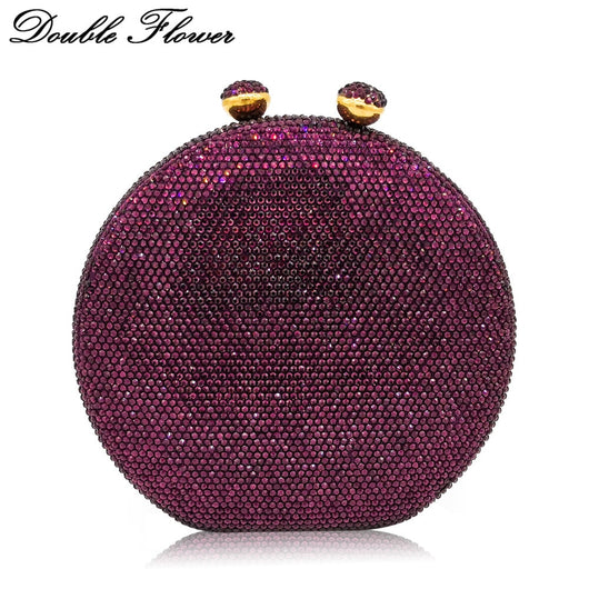 New Hard Case Diamante Ball Clasp Womens Party Club Clutch Handbag Purse