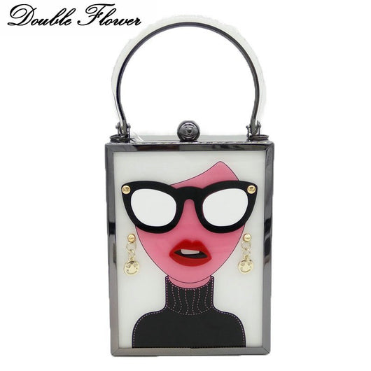 Double Flower Lady with Glasses Women Acrylic Evening Box Clutch Bag Hard Case Metal Day Clutches Handbag Chain Crossbody Bag