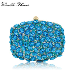 Double Flower Light Blue Hot-Fixed Rhinestones Women Evening Bags Wedding Party Cocktail Bridal Handbags Crystal Clutch Purse