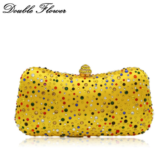 Double Flower Multicolored Crystal Women Evening Bags Metal Clutch Wedding Party Cocktail Yellow Chain Shoulder Handbag Purse