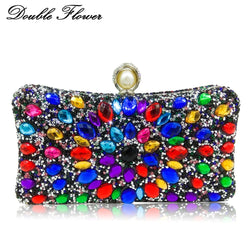 Double Flower Multicolored Crystal Women Evening Bags Pearl Clasp Hard Case Metal Bridal Diamond Clutch Handbag Purse