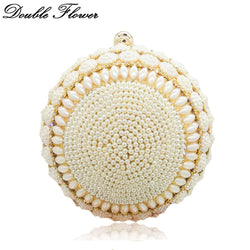 Double Flower Round Circular Gold Women Beaded Clutch Evening Bag Wedding Party Cocktail Beading Crystal Handbags and Purses
