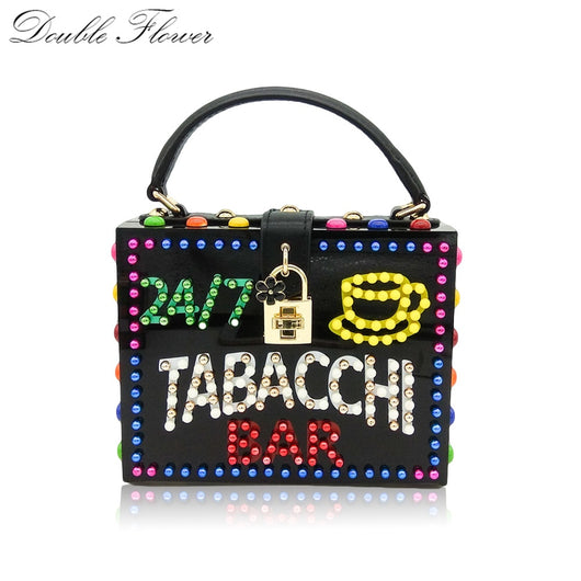 Double Flower TABACCHI BAR LED Banner Letter Beaded Women Acrylic Box Totes Bag Fashion Shoulder Handbag Purse Crossbody Bag