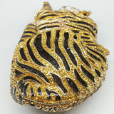 Double Flower Vintage Golden Tiger 3D Shape Women Crystal Animals Minaudiere Bag Clutch Purse Evening Wedding Cocktail Handbags