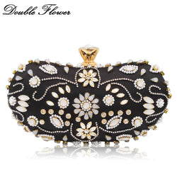 Double Flower Vintage Retro Beaded & Crystal Women Evening Bags Hard Case Metal Wedding Cocktail Beading Clutch Handbag Purse