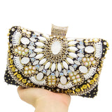 Double Flower Vintage Retro Patchwork Women's Black Beaded Clutch Evening Bags Bridal Wedding Beading Handbag and Purse