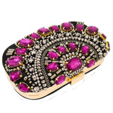 Double Flower Vintage Retro Purple Crystal Women Beaded Evening Bags Wedding Cocktail Party Beading Handbag Chain Shoulder Purse