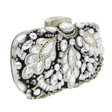 Double Flower Women's Fashion Beaded Purse Metal Clutch Evening Bags Wedding Cocktail Bridal Beading Handbag Chain Shoulder Bag