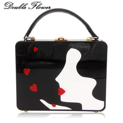 Double Flower Women's Fashion Blow Kiss Acrylic Box Clutch Hard Case Shoulder Bags Ladies Black Crossbody Handbags and Purse