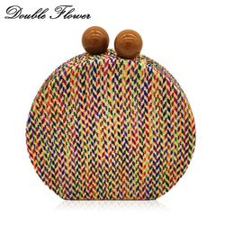 Double Flower Wooden Ball Clasp Multicolored Woven Fabric Women Fashion Day Clutches Handbag Evening Party Chain Shoulder Bag