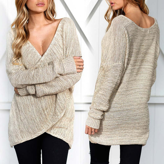 Double Layer Knitted Sweater Women Autumn White Pullover Sweater Deep v Neck Long Sleeve Jumpers Pull Femme sweter mujer EY11