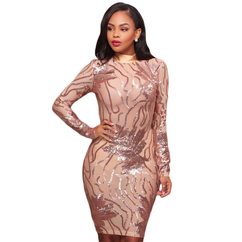 599f560a Doyerl Women Long Sleeve Black Sequin Dress Sexy Mesh See Through Backless  Bodycon Pencil Party Sparkly. Hover to zoom