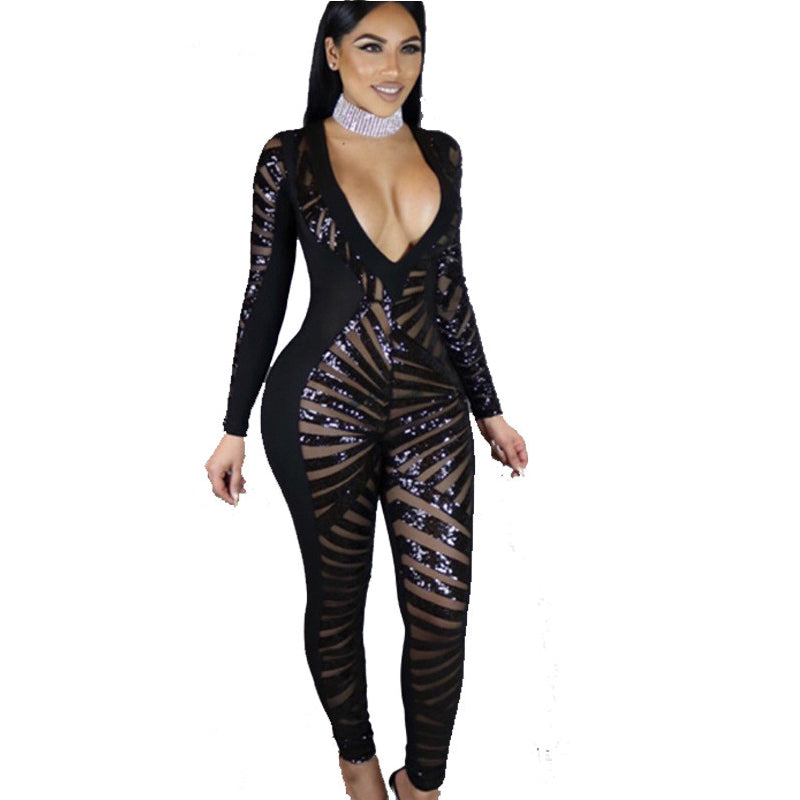 4197c4a4299 Doyerl Womens Jumpsuit Romper Sheer Black Sequin Jumpsuits Sexy V-neck Long  Sleeve Playsuits Party ...
