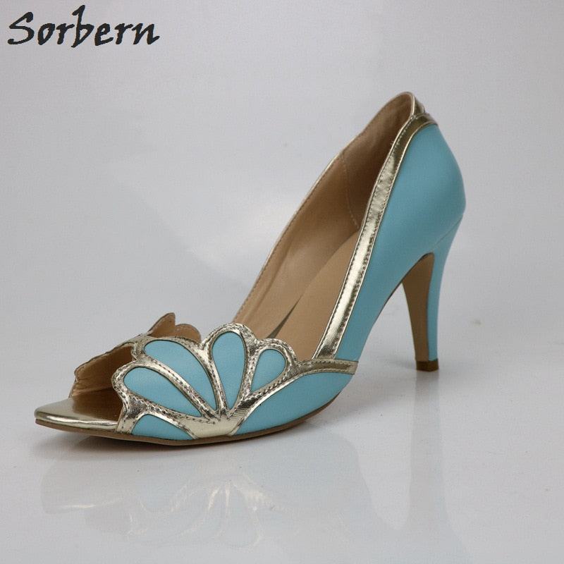 18d446528934 Dress Shoes Women Sexy Pumps Blue Light Gold Bridal Shoes Vintage ...