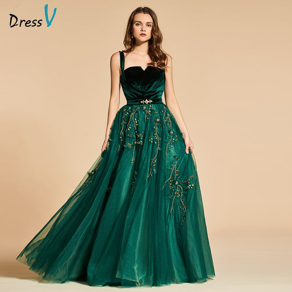 d3b78789bfff Dressv green long evening dress elegant spaghetti strap beading zipper up  wedding party formal dress lace. Hover to zoom