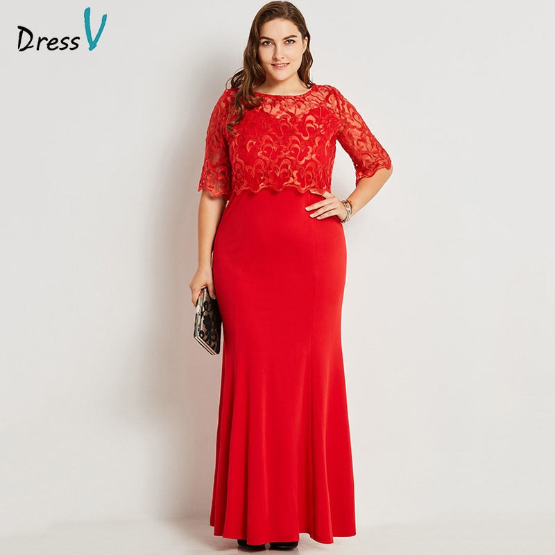 c40d07d5fad0a Dressv red round neck plus size evening dress elegant mermaid half sleeves  lace wedding party formal dress evening dresses