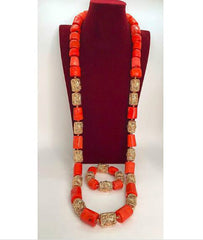 Dubai Gold African Wedding 50 inches Long Men Real Coral Beads Necklace Bracelet Jewelry Set Coral Jewelry Set Groom ABH710