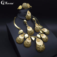 Dubai gold-color Fashion jewelry set Bridal exaggerate African beads jewelry Necklace Bangle Earring Ring wedding jewelry set