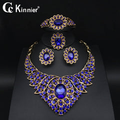 Dubai gold-color wedding jewelry set Bridal African bead bule zircon Necklace Exaggerated party women Bangle Earring Ring 1030