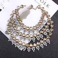 Dvacaman Brand 2018 Handmade Exaggerated Crystal Choker Necklace Multilayer Tassel Statement Necklace Party Wedding Jewelry R5