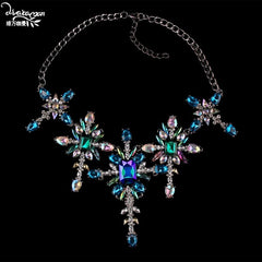 Dvacaman Trendy Big Statement Necklace Women Crystal Flower Pendant Necklace Party Maxi Choker Collar Jewelry Drop Shipping AQ95