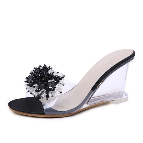 Dwayne wedges heel sandals women 2018 summer new sexy crystal transparent high heels diamond slides slippers women Banquet shoes