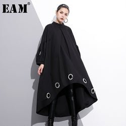 [EAM] 2018 New Autumn Round Neck Long Sleeve Solid Color Black Metal Ring Big Size Hollow Out Dress Women Fashion Tide JE29201