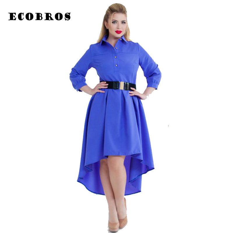 31e25a0563 Hover to zoom · ECOBROS Big size 6XL 2017 Fat MM Woman Dress casual solid  irregular ...