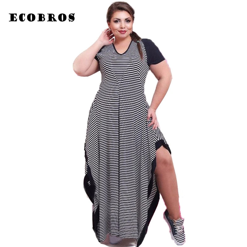 c696837b45b ECOBROS Big size 6XL Fat MM Woman Summer Dress black and white striped  Loose split long dresses plus size women clothing 6xl