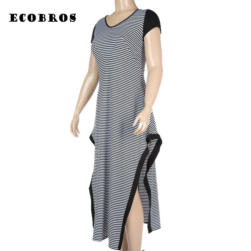 1ad059ca7c1 ... ECOBROS Big size 6XL Fat MM Woman Summer Dress black and white striped  Loose split long ...