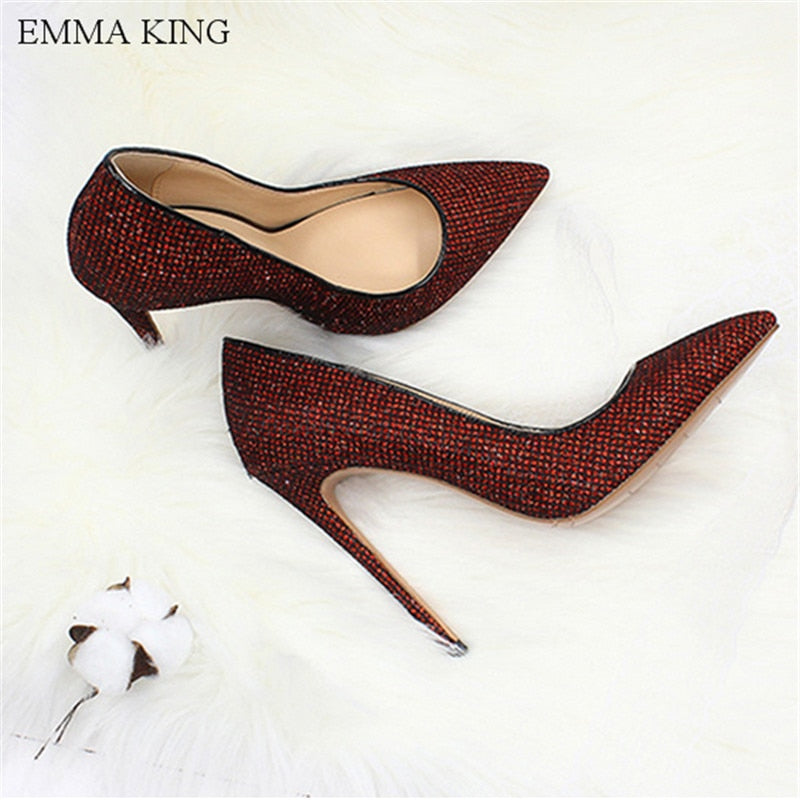 EMMA KING 2018 Mado Bling Sequin Design Women Pumps Thin High Heels Pointed  Toes Shallow Sexy Fashion Ladies Shoes Size 35-43
